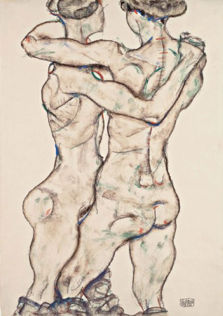 Schiele, Egon: Naked Girls Embracing. Fine Art Print/Poster. Sizes: A4/A3/A2/A1 (003695)